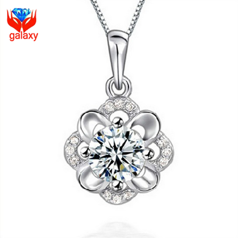 Romantic Birthday Gift For Girl Friend 100 925 Sterling Silver Necklace Clear Cubic Zirconia Rose Flower Pendant ZN873