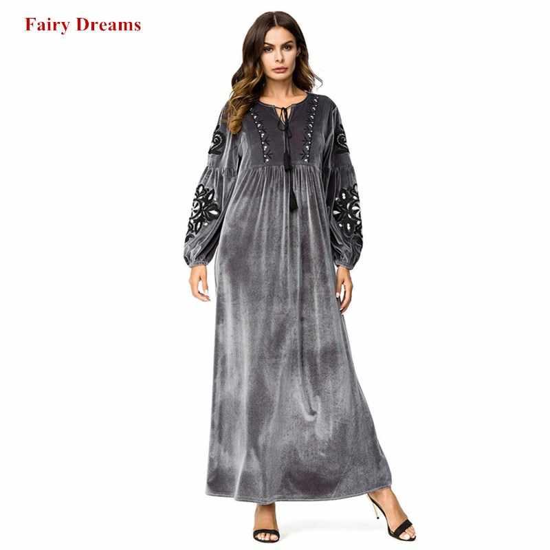2cbecd9f49 Velvet Abayas For Women Flowers Embroidery Silver Muslim Dress Kaftan  Turkish Arab Dubai Islamic Plus Size Clothing Long Robe