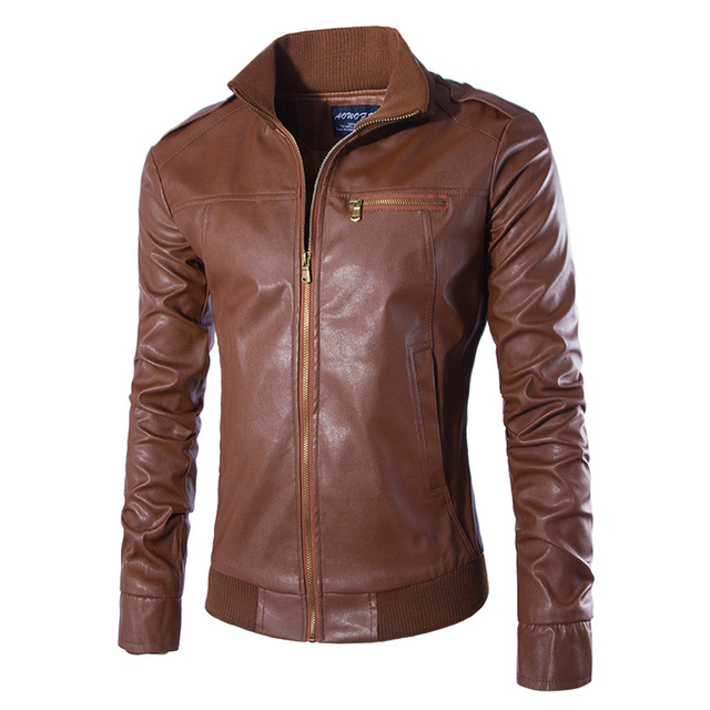 New Brand Men's Solid Rib Bottom Leather Jacket Pockets Stand Collar Slim Male Coats Jaqueta De Couro Masculina