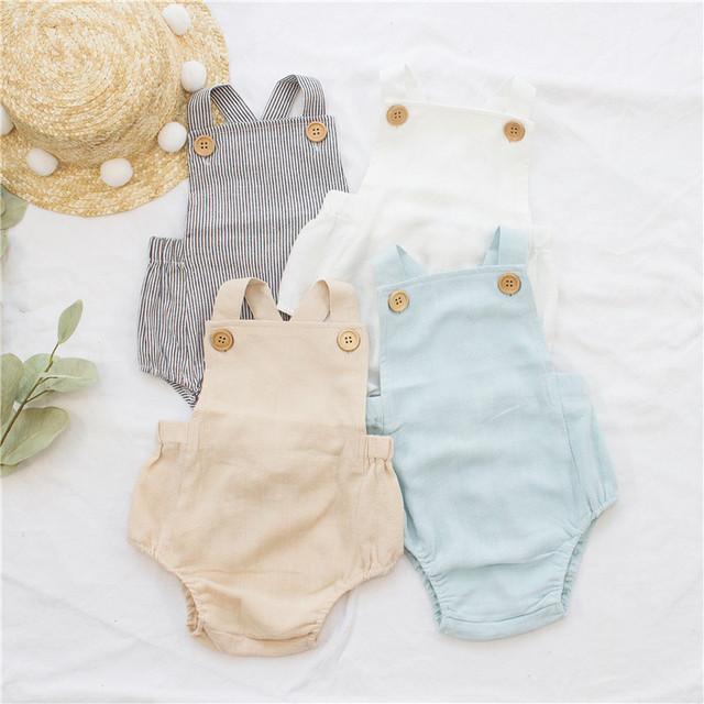 Baby Boys and Girls Linen Suspender Romper [9 color variations]