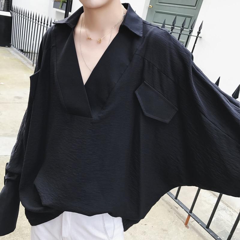 Negro Hip blanco Plus Tamaño De Ropa Cuello Coreano Manga Hop Camisa V Larga Negro Blanco Grande Hombres Los Punk Blusa Estilo Gran La Camisas Casual vSvfrqw