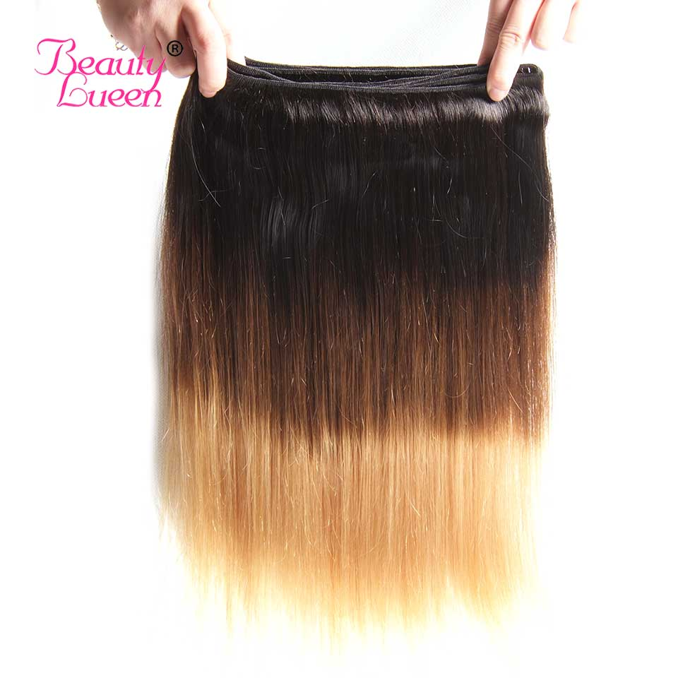 Ombre Brazilian Straight Hair Weave 3 Bundles With Closure T1B427 3 Tone Honey Blond Ombre Human Hair With Closure Remy Hair (43)