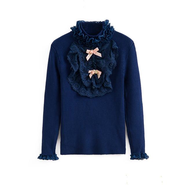2 T para 7 anos de miúdos meninas gola de renda plissado pulôver blusas de malha crianças moda casual azul camisola de algodão roupas