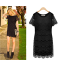 Lace Dress Women 2016 New Summer Vintage Robe Sexy Slim Elegant Short Sleeve O neck Princess Short Dresses Vestidos Tunics
