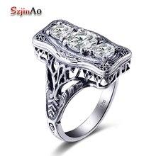 Szjinao, классическое, роскошное, настоящее, одноцветное, 925 пробы, серебряное кольцо, круглое, имитирующее бриллиантовые Свадебные ювелирные изделия, кольца для помолвки для женщин