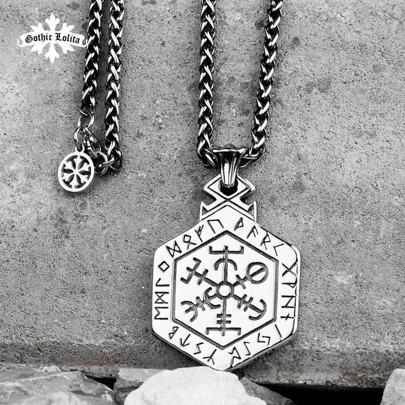 Nordic mitologia Viking rune naszyjnik ze stali nierdzewnej jednostronny wisiorek Kabala totem dla mężczyzn hippop street culture mygrillz
