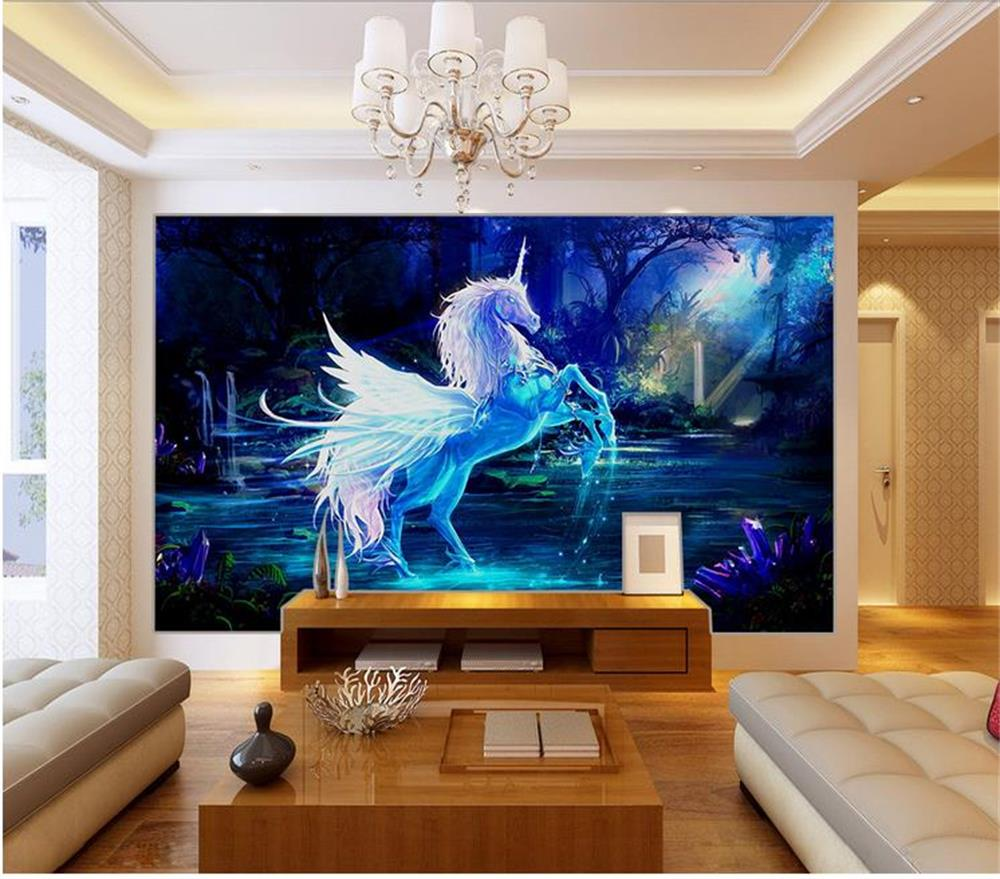 unicorn fairy mural fototapete tale kinderzimmer murals bedroom pantalla wallpapers living fondo papier papel pferde murale woven non paintings einhorn