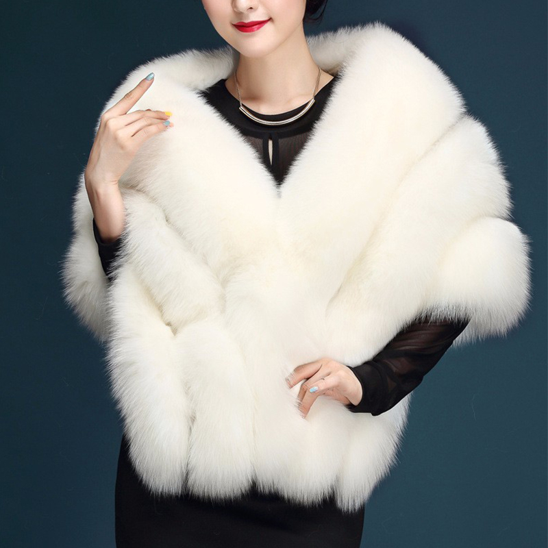 Fashion Paragraph Bride Wedding Shawl White Large Size Artificial Fox Fur Coat Women's Fur Vest Faux Fur Coat Pink PC231