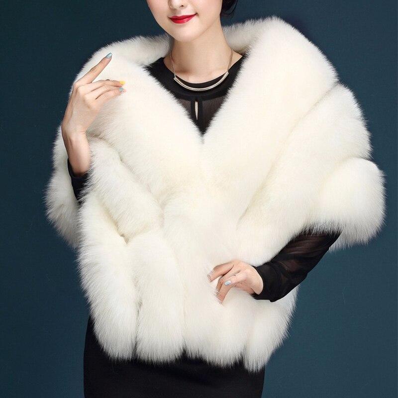 Mode paragraphe mariée mariage châle blanc grande taille artificielle renard fourrure manteau femmes fourrure gilet fausse fourrure manteau rose PC231