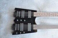 Бесплатная доставка Custom shop новый двойной средства ухода за кожей Шеи headless Инструменты Черный headless 4 струны для бас гитары 4 Строка гитары