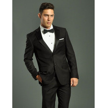 Costume Homme Smoking Wedding Suits For Men Notched Lapel Groom Tuxedos Two Piece Mens Slim Fit Groomsmen Suit (jacket+pants)