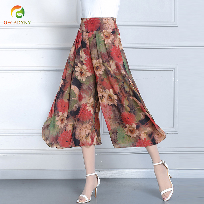 Floral Printed Wide Leg Pants Capris Women Casual Pants 2019 Summer Boho Beach Elastic High Waist Plus Size Trousers Female 4XL