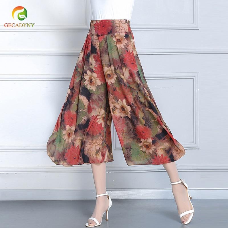 Floral Printed   Wide     Leg     Pants   Capris Women Casual   Pants   2019 Summer Boho Beach Elastic High Waist Plus Size Trousers Female 4XL