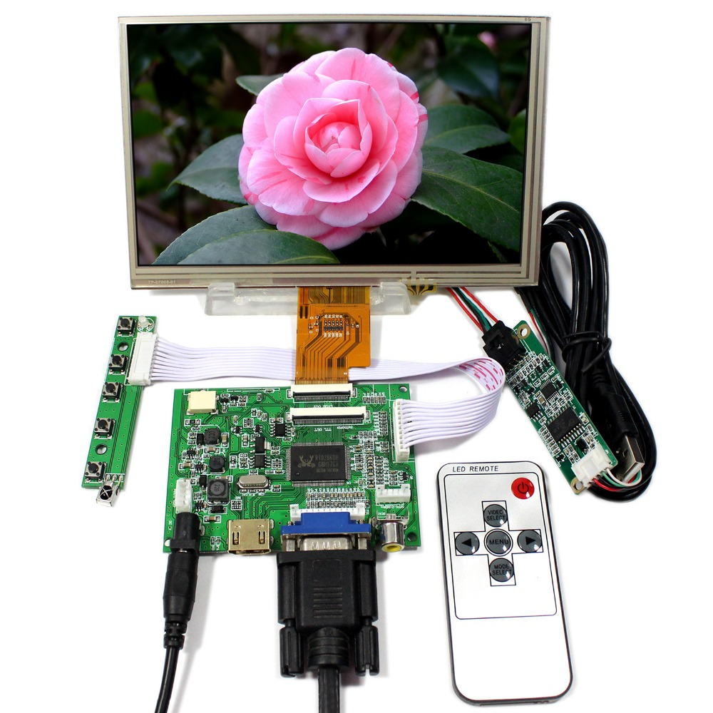 HDMI+VGA+2AV LCD Controller Board VS-TY2662-V5 With 7inch 1024x600 AT070TNA2 LCD With Resistive Touch aputure digital 7inch lcd field video monitor v screen vs 1 finehd field monitor accepts hdmi av for dslr