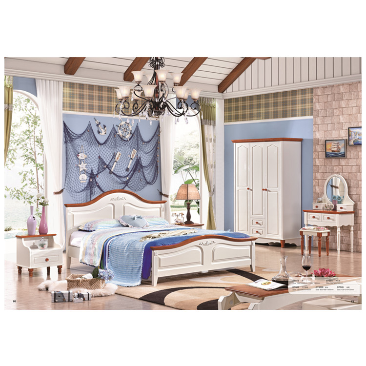 White Wood Color High Quality Wooden Bed -in Bedroom Sets