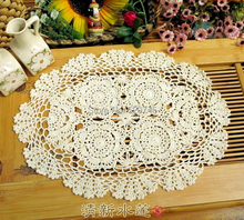 Pastoral handmade crochet flowers oval Placemat Cotton mat Small tablecloth Doilies decorative cover cloth