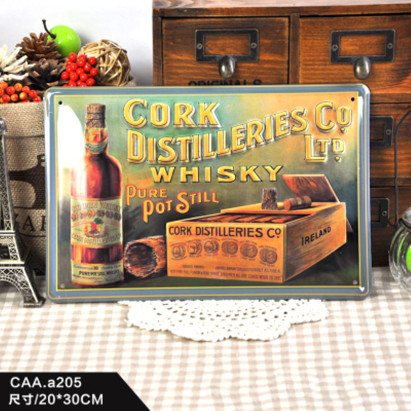 CORK DISTILLERIES COLTD Nostalgia Vintage Iron Painting plaques & signs Wall Sticker Signage Hotel restaurant wall decoration