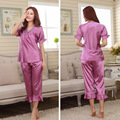 Couples short sleeve Rayon Pajama Sets faux silk Women's Sleepwear Lounge female nightwear homewear pyjamas wedding red pijamas