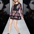 ВЫСОКОЕ КАЧЕСТВО 2017 Весна Взлетно-Посадочной Полосы Женщины Dress Vintage Длинным Рукавом O Шеи Цветочные Печатный Кружева Мини Платья Плюс Размер XL Vestidos