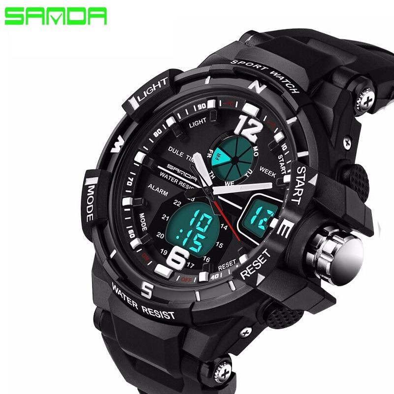 SANDA Brand 2016 New Fashion casual Wristwatch font b Men b font Sports Military Watches Shock