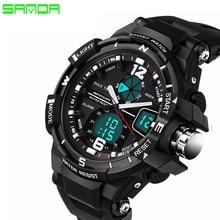 SANDA Marca 2016 Nueva Moda casual Reloj Militar Hombres Relojes Deportivos Choque de Lujo de Los Hombres Reloj de Cuarzo Analógico Led Digital