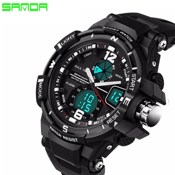 SANDA Brand 2019 New Fashion casual Wristwatch Men Sports Military Watches Shock Men Luxury Analog Quartz Led Digital Watch ohsen men shock resistant sports watch quartz hour digital watch military 30m waterproof silicone strap led dual time wristwatch