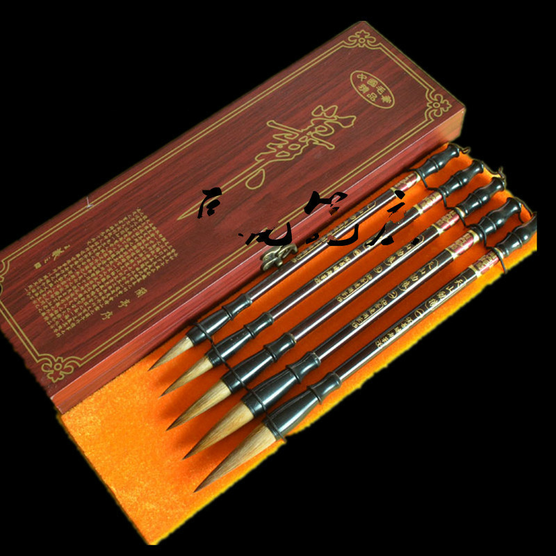 5pcs New Chinese Calligraphy Brush Pen Set Traditional Weasel Hairs Ink Brush Pen Painting Supplies Chancery High-grade Gift Box