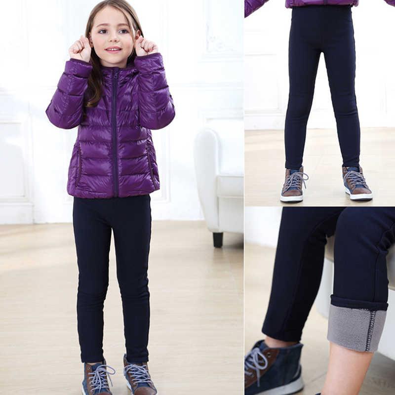 Dziewczyny legginsy zagęścić jesień zima dzieci ciepłe spodnie dla dzieci gruby polar elastyczny pas Multi-kolory dziewczyny spodnie skinny fit