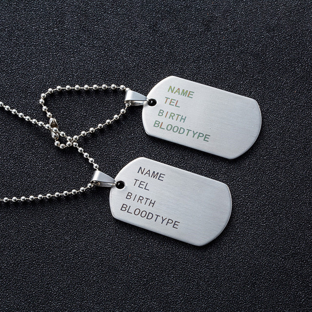 Military Army Tactical Engraving Name ID Tags Cards Pendant Man Necklace&Pendants Stainless Steel Fashion Keychain Men Jewelry 3