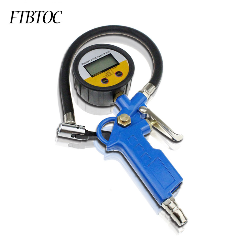 FTBTOC Car Digital Tire Inflator Auto Inflating Gun Air Tyre Pressure Manometer LCD Gauge Tester Pistol