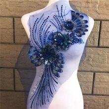 Bordado de flores de 7 colores, bordado de lentejuelas Escote de Apliques de encaje, Collar embellecedor para vestido de noche de boda, costura álbum de recortes para bricolaje, 1 unidad