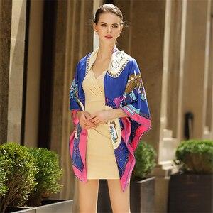 Image 3 - Foulard carré en sergé en soie pour femmes, style Eur, mode pour poussette, Paris, imprimé, bandeau, cadeau, grand luxe, châle, Hijab, collection 100%