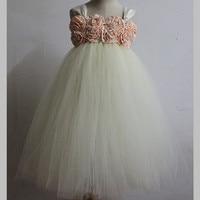 Handmade Gray White Flower Girl Tutu Dress Tulle Princess Dress Kids Party Wedding Dress Children Pageant Performance Ball Gown