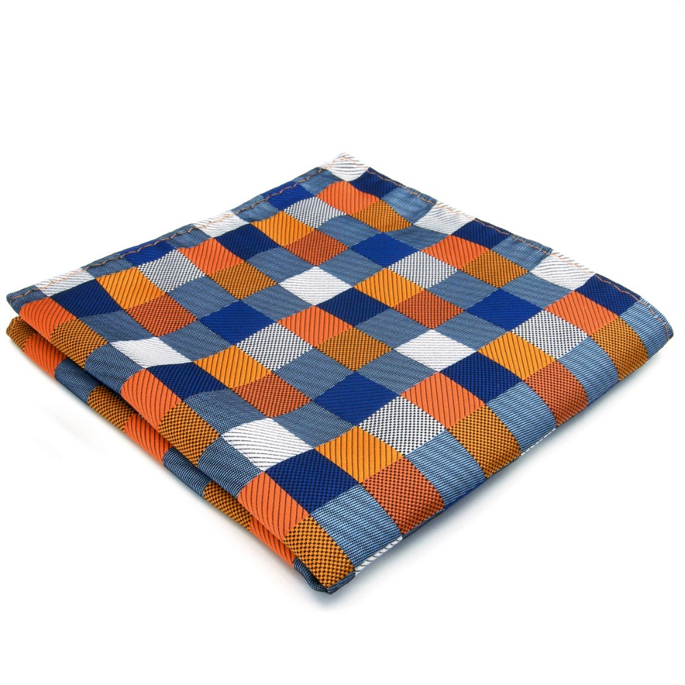 Checks Multi-color Pocket Square Mens Silk Jacquard Woven Hankies Handkerchief