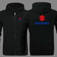 SUZUKI logo zipper Hooded Sweatshirt Winter Sweatshirts Zipper Jacket Cotton Coat Fashion Hoodie