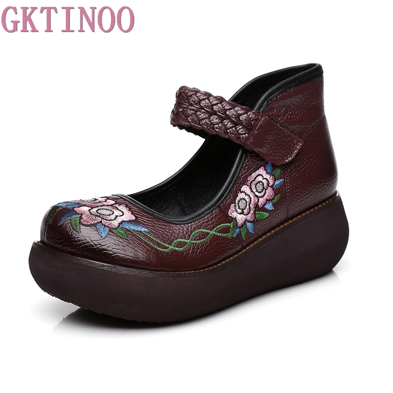 GKTINOO 2018 Spring Women High Heel Shoes Platform Wedges Pumps Genuine Leather Handmade Vintage Ankle Strap Women Casual Shoes genuine leather shoes fashion2017 new autumn women wedges shoes high heel platforms for women casual shoes pumps elevator women
