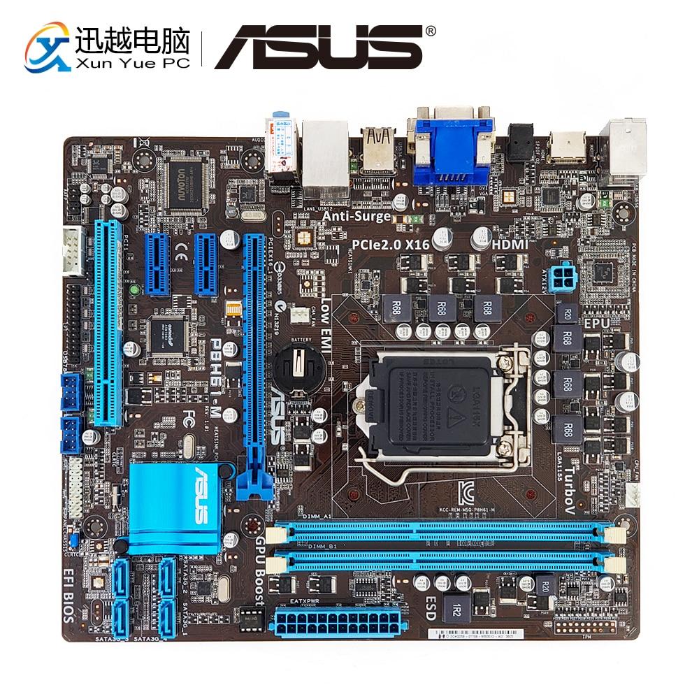 Asus P8H61-M Desktop Motherboard H61 Socket LGA 1155 i3 i5 i7 DDR3 16G SATA2 USB2.0 VGA DVI HDMI uATX asus p8h61 m le original asus p8 h61 m pc motherboard socket lga 1155 uatx ddr3 dvi vga usb2 0 16gb desktop computer mainboard