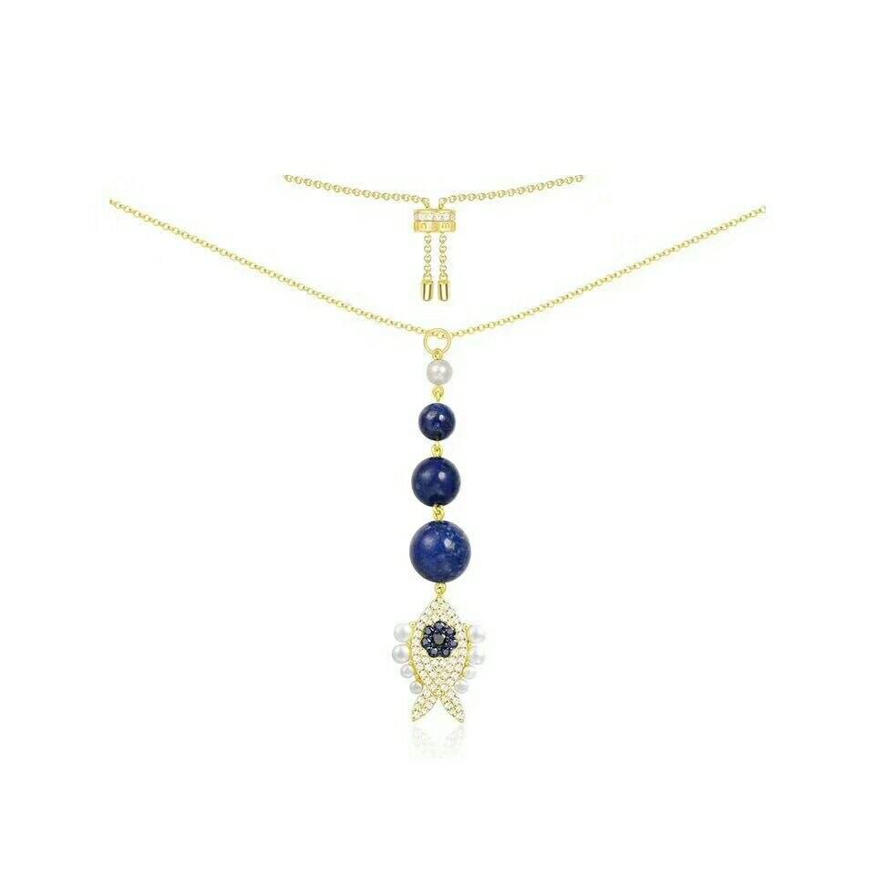 MeiBaPJ Real 925 perles en argent Sterling bleu collier pendentif poisson doré pour les femmes bijoux de fête Fine