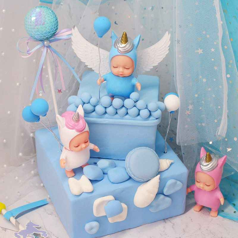 Unicorn Baby Doll Collection Cake Decoration Cake Toppers Baby Shower 1st  First Birthday Girl Boy Party Decorations Supplies