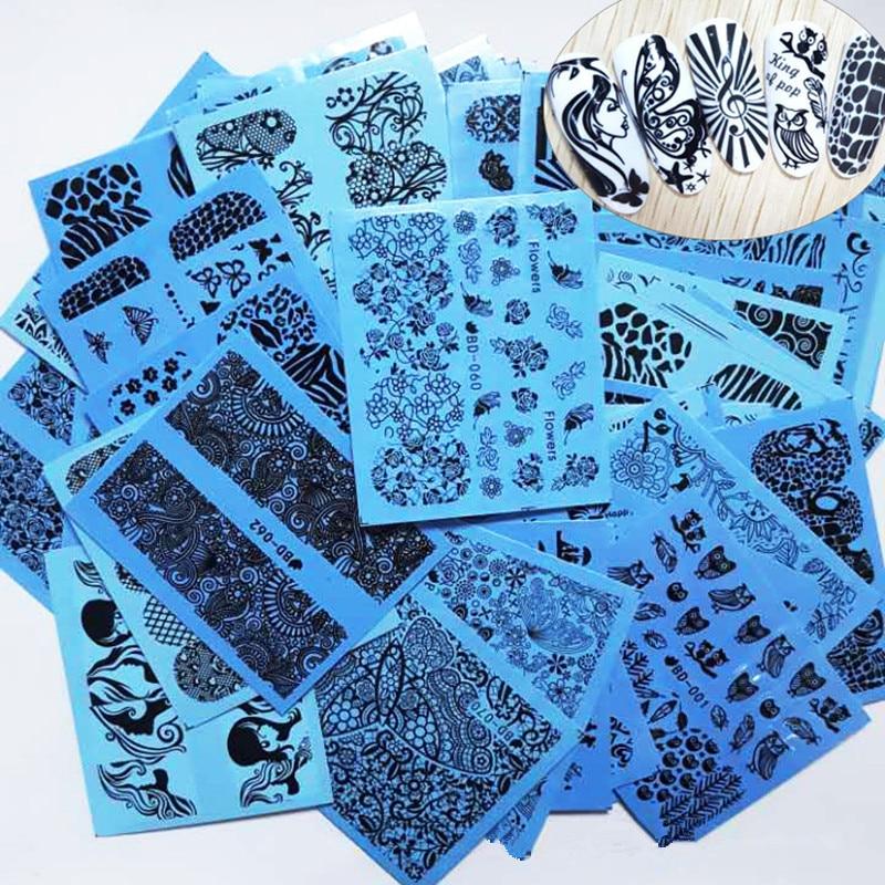 72 Sheet Black Lace Flower Nail Stickers Beauty Nail