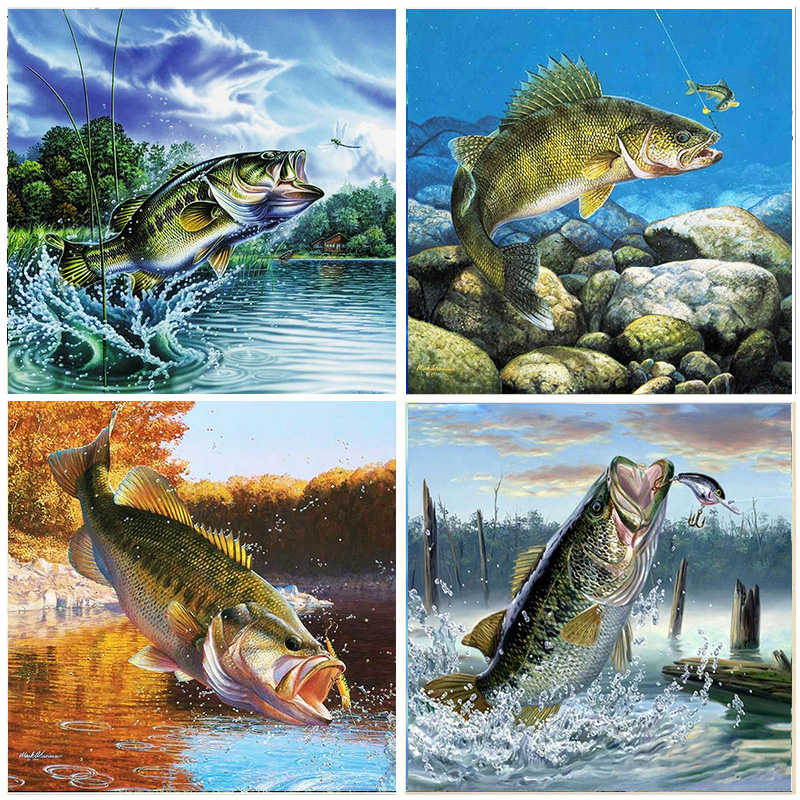 5D Diamond Painting Fish Landscape Round Drill Embroidery DIY Animal Home Decoration Mosaic Crystal Cross Stitch Handmade Gifts in Diamond Painting Cross Stitch from Home Garden