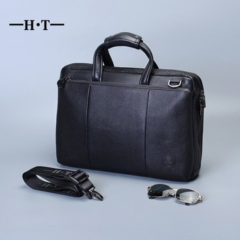 HT Simple Famous Brand Business Men Briefcase Bag Genuine Cowhide Leather Laptop Handbag Casual Man Bag Shoulder Bags Black ocardian mochila multi purpose dual use bolsa de ombro para feminino ombro saco da mãe bolsa de mulheres de couro macio simples soild sacos 12dec3