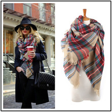 Hot Sell Za Fashion Scarf for women Top Quality Soft Cashmere Warm in Winter Big Size 140*140 square Plaid Shawl with tassels