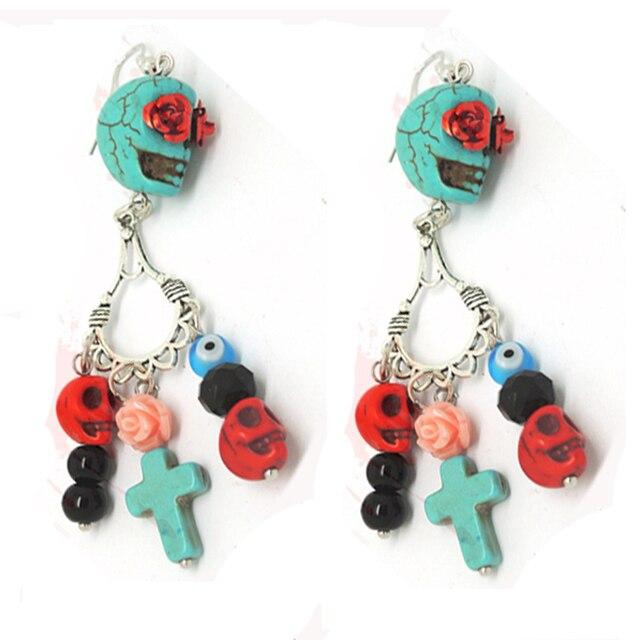 Sugar Skull Earrings Colorful Calaveras Day Of The Dead Dia De Los