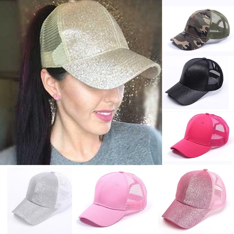 2ca9ecc4ff9 Fashion Women CC Glitter Cotton Ponytail Baseball Cap Messy Bun Baseball  Hat Girls Snapback Caps Summer Sports Mesh Hats
