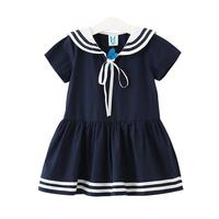 2017 Solid Naval Collar School Style Girls Dress Summer Dress Cute Baby Girl Clothes Toddler Party