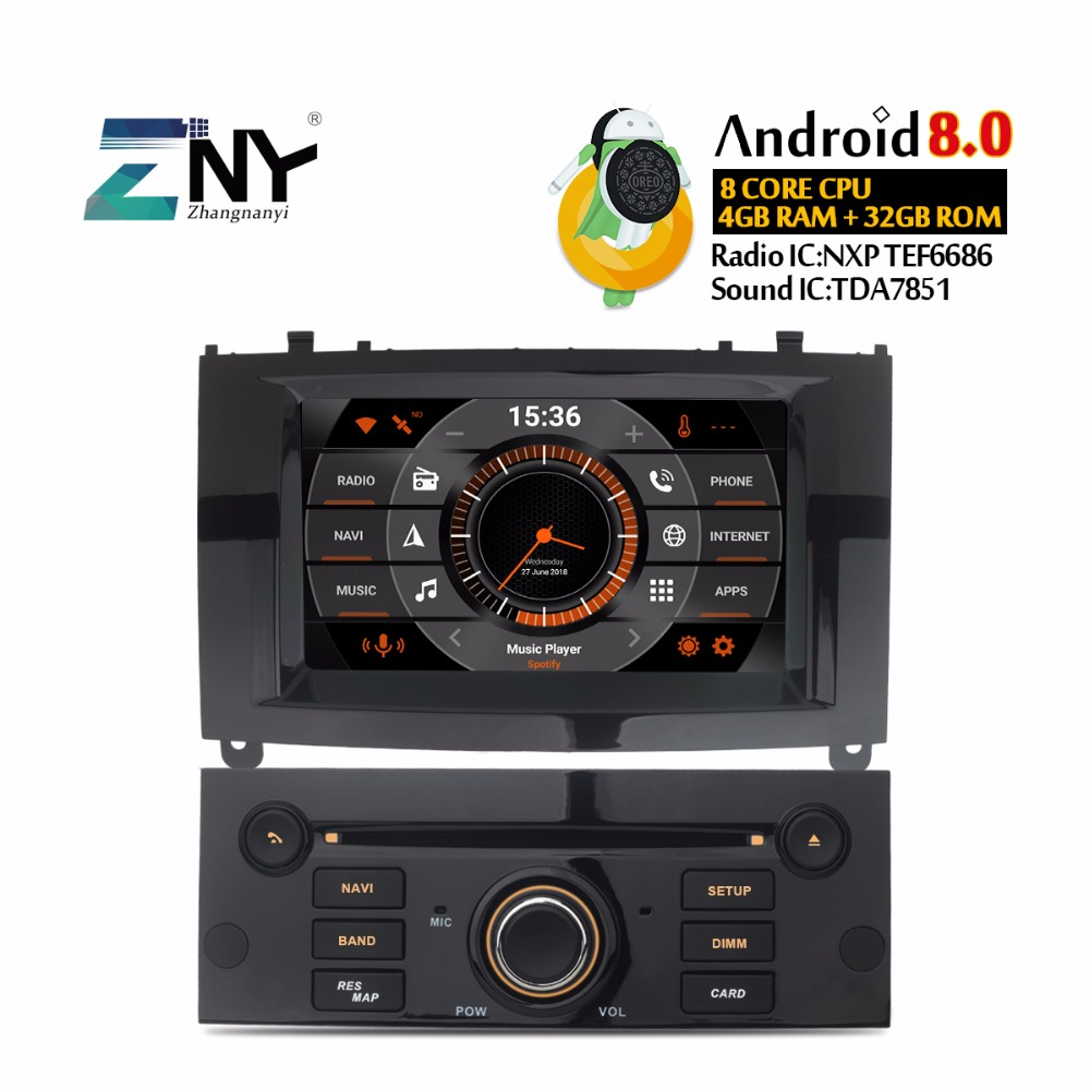 7 IPS Android 8.0 Car DVD Stereo For PEUGEOT 407 2004 2010 In Dash 1 Din Auto Radio GPS Navigation Headunit Free Reverse Camera