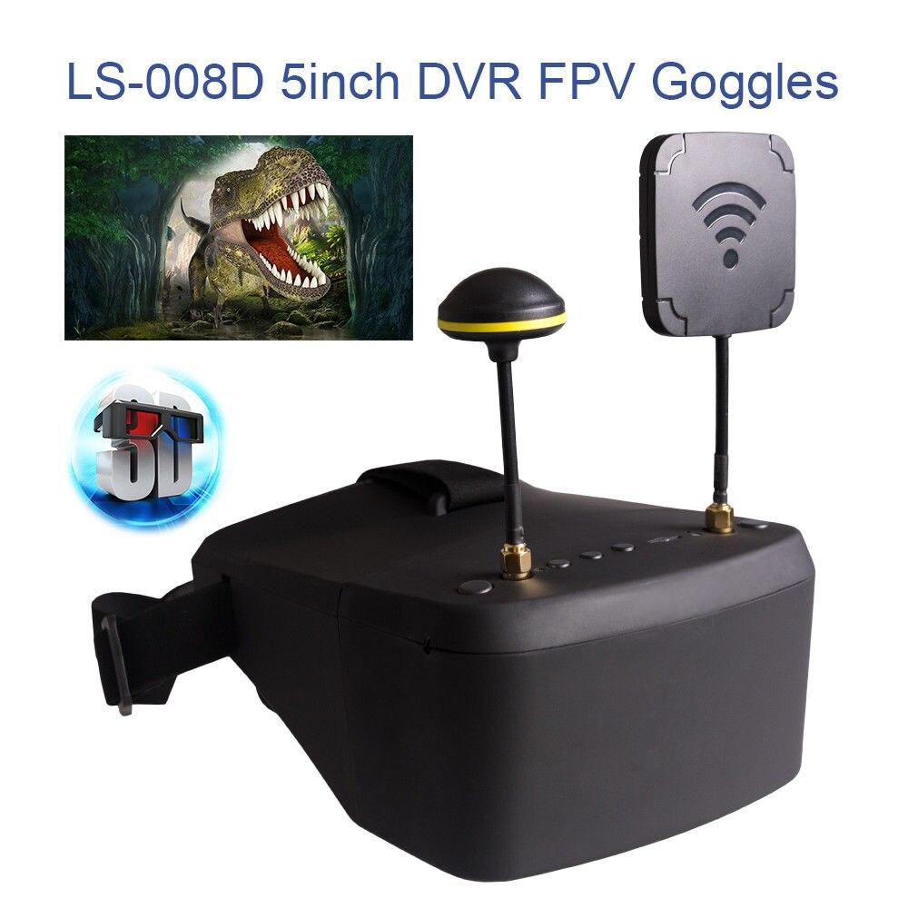 TOMLOV LS-008D DVR Diversity FPV Goggles 5.8G 40CH For RC Drone Model 450cd/m2 Durable Detachable