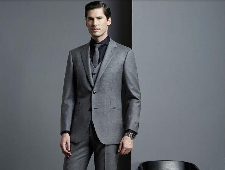 Online Shop Shiny Grey Suits For Men 2015 Satin Suit The New ...