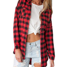 JAYCOSIN Fashion Blouse Women Red Plaid Print Long Shirt Feminine Casual Plus Size Turn-down Collar Women Full Tops 0311(China)